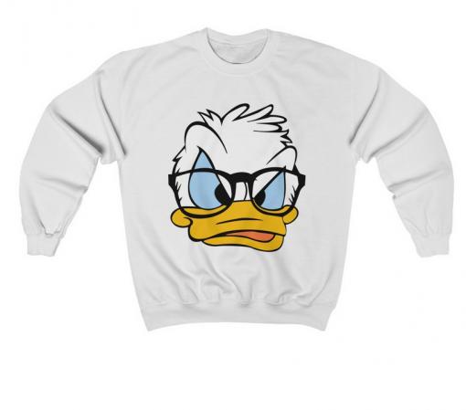 White Long Sleeve Donald Duck Print Sweatshirt thd